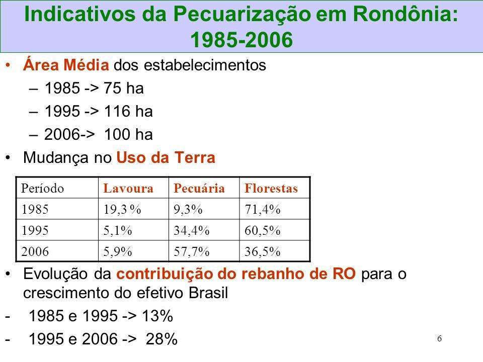 6 Indicativos da Pecuarização em Rondônia: 1985-2006 PeríodoLavouraPecuáriaFlorestas 198519,3 %9,3%71,4% 19955,1%34,4%60,5% 20065,9%57,7%36,5% Área Mé