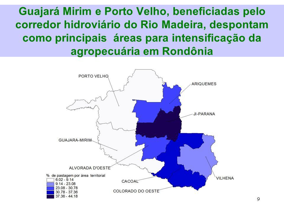 9. Guajará Mirim e Porto Velho, beneficiadas pelo corredor hidroviário do Rio Madeira, despontam como principais áreas para intensificação da agropecu