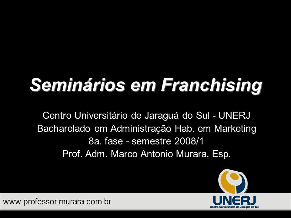 www.professor.murara.com.br Seminários em Franchising a pesquisa tem um custo para ser realizada.