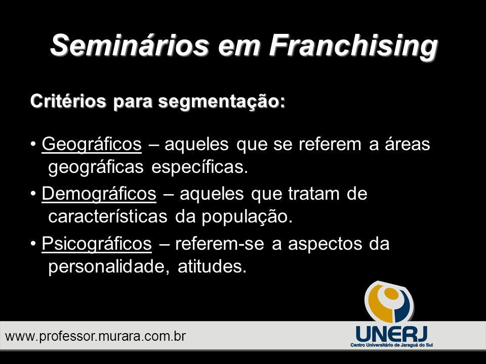 www.professor.murara.com.br Seminários em Franchising Critérios para segmentação: Geográficos – aqueles que se referem a áreas geográficas específicas.