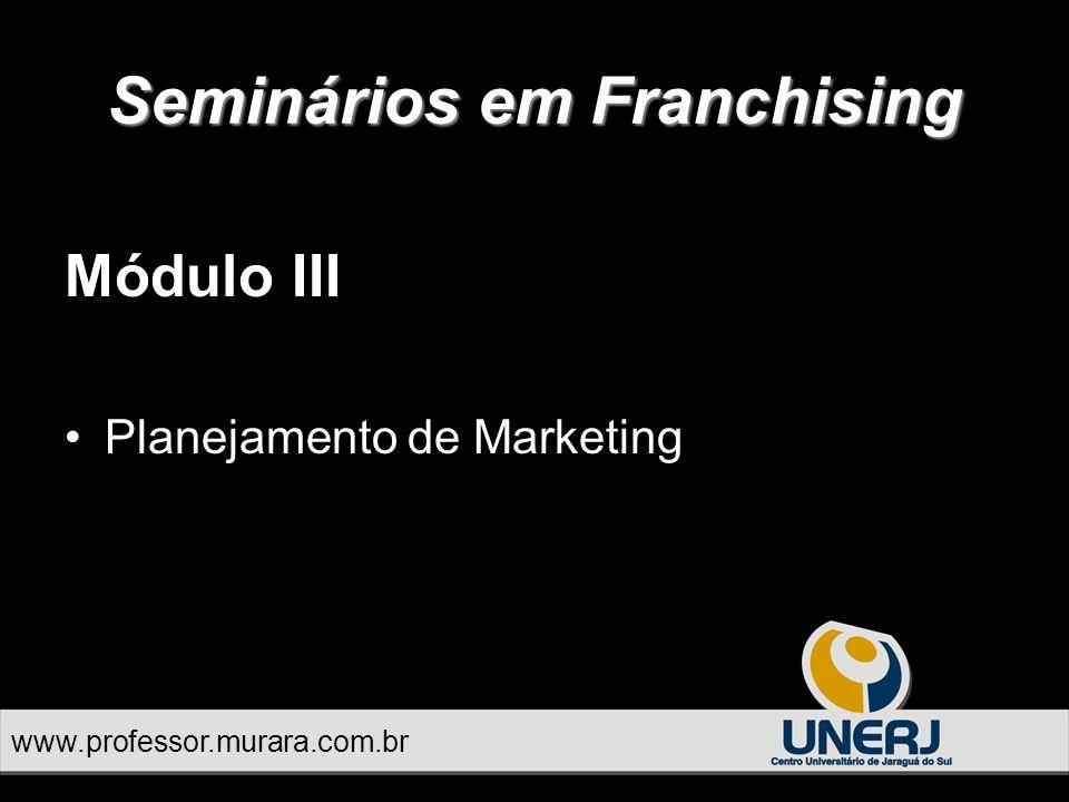 Módulo III Planejamento de Marketing Seminários em Franchising www.professor.murara.com.br