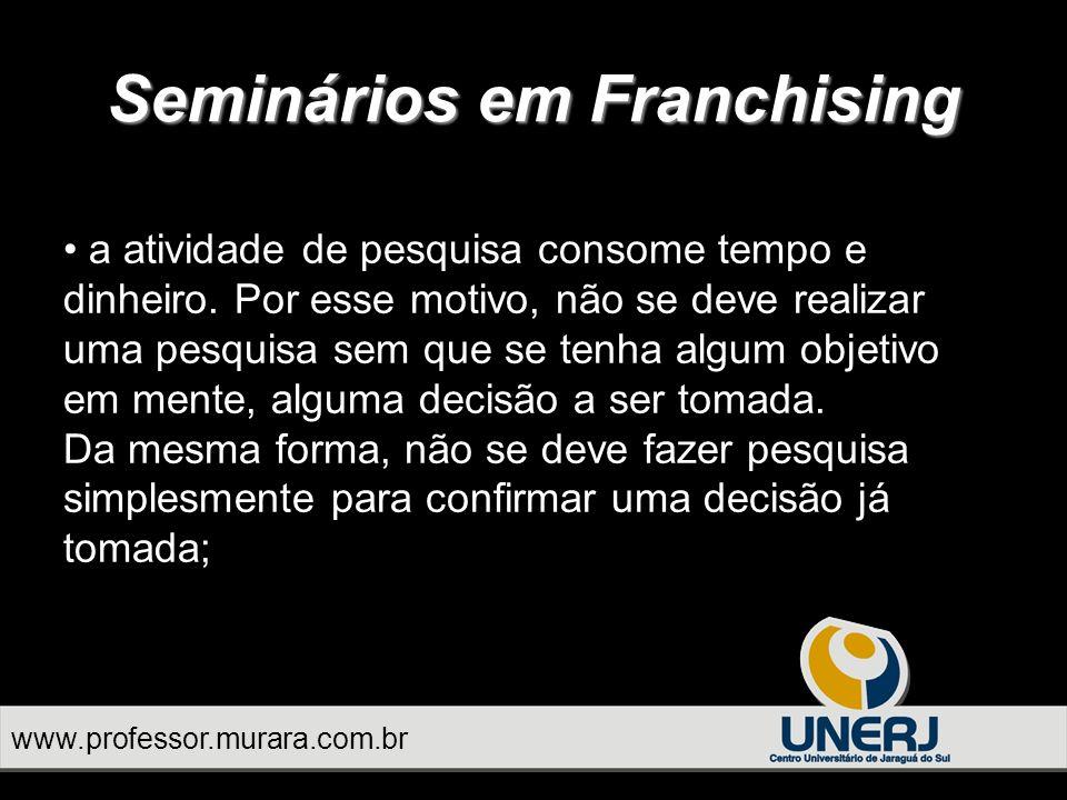Seminários em Franchising a atividade de pesquisa consome tempo e dinheiro.