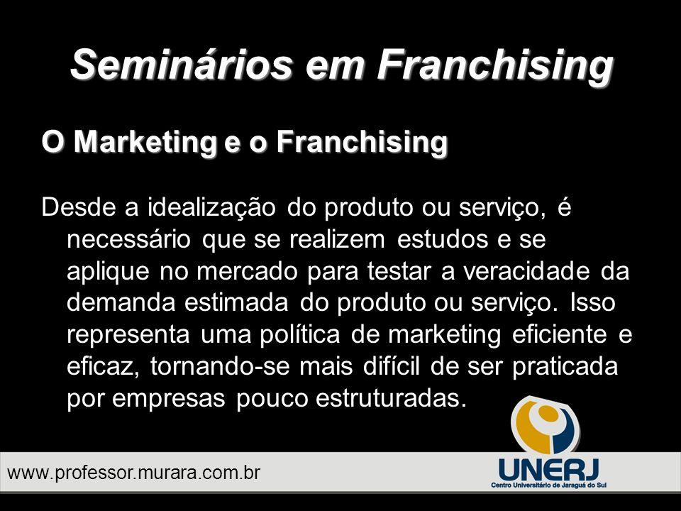 O Marketing e o Franchising Desde a idealização do produto ou serviço, é necessário que se realizem estudos e se aplique no mercado para testar a veracidade da demanda estimada do produto ou serviço.