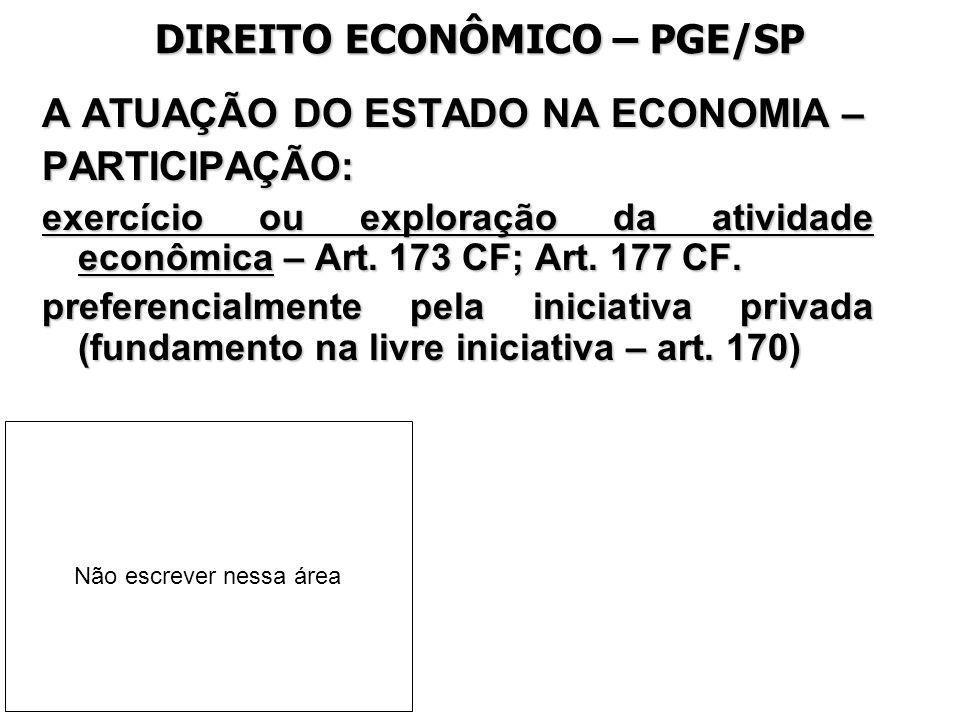 DIREITO ECONÔMICO – PGE/SP A ATUAÇÃO DO ESTADO NA ECONOMIA – PARTICIPAÇÃO: exercício ou exploração da atividade econômica – Art. 173 CF; Art. 177 CF.