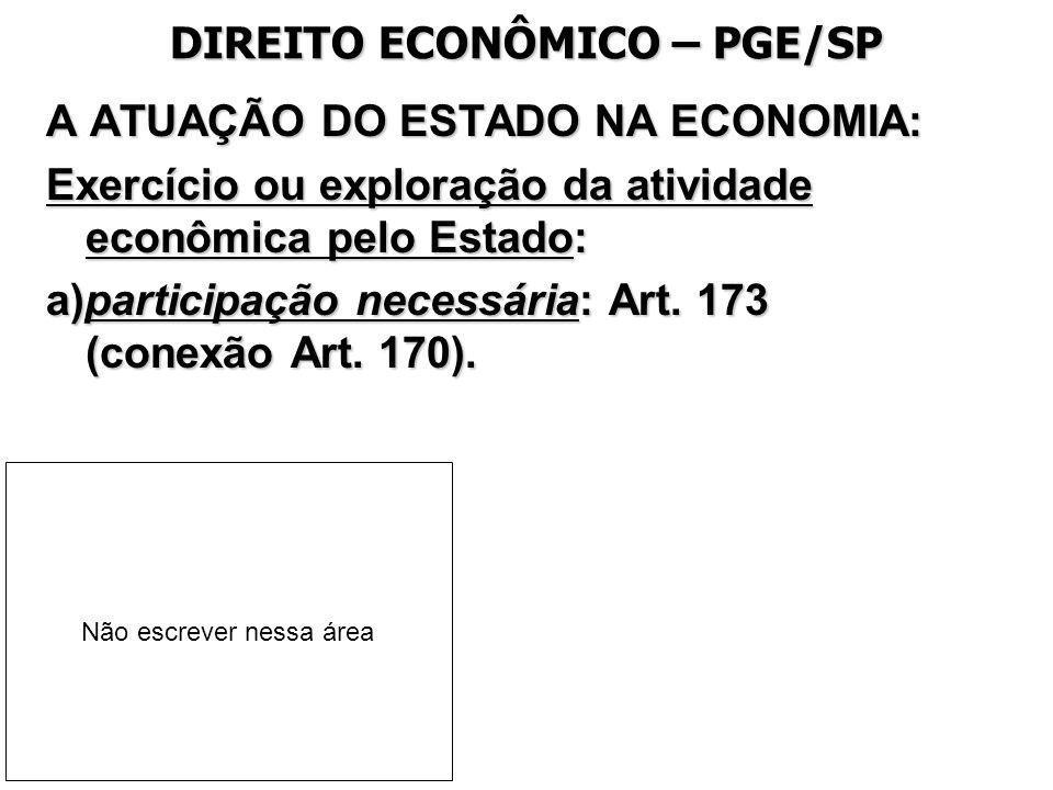 DIREITO ECONÔMICO – PGE/SP A ATUAÇÃO DO ESTADO NA ECONOMIA: Exercício ou exploração da atividade econômica pelo Estado: a)participação necessária: Art