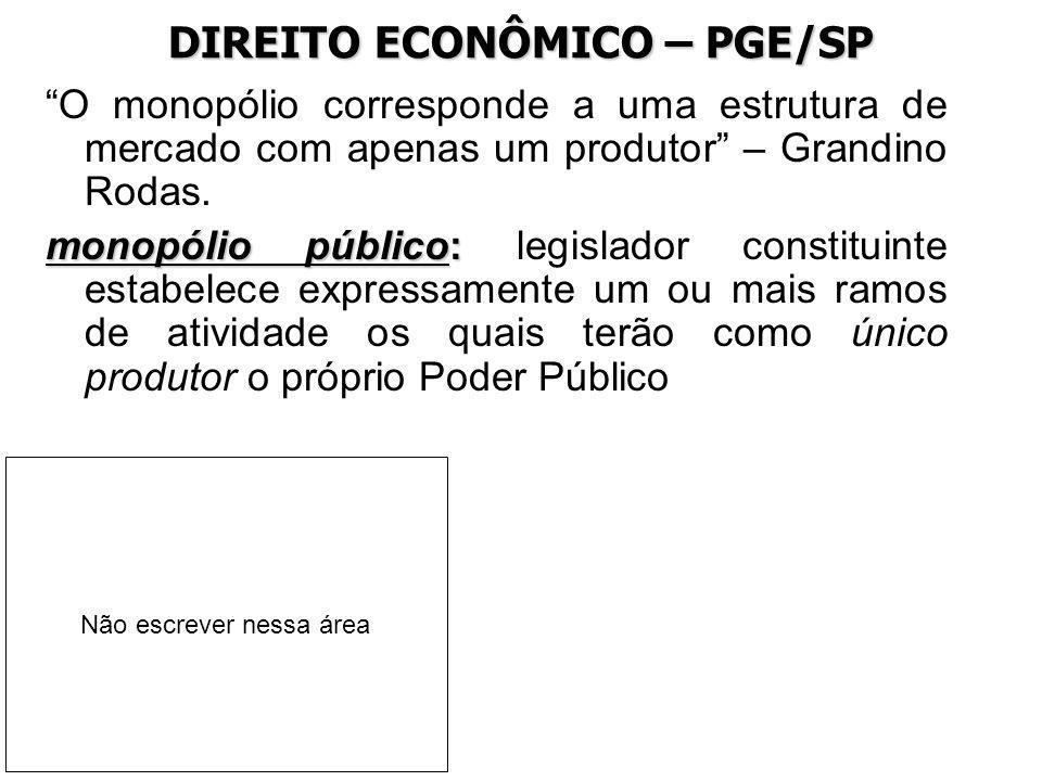 DIREITO ECONÔMICO – PGE/SP O monopólio corresponde a uma estrutura de mercado com apenas um produtor – Grandino Rodas. monopólio público: monopólio pú