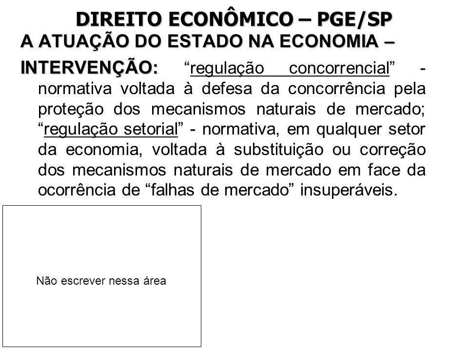 DIREITO ECONÔMICO – PGE/SP A ATUAÇÃO DO ESTADO NA ECONOMIA – INTERVENÇÃO: INTERVENÇÃO:regulação concorrencial - normativa voltada à defesa da concorrê