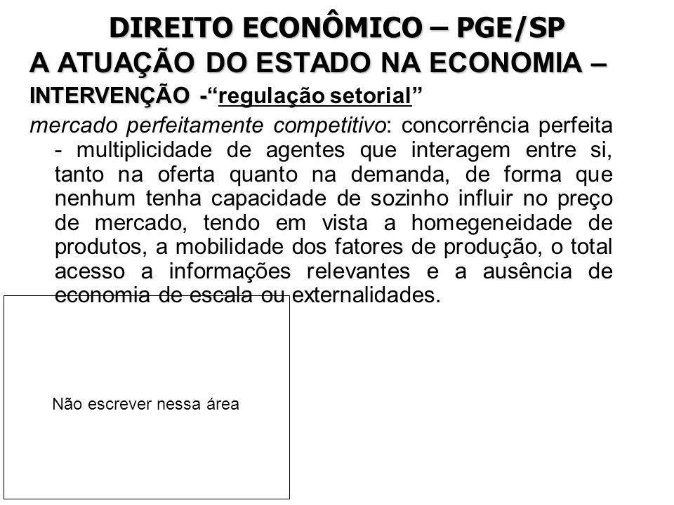 DIREITO ECONÔMICO – PGE/SP A ATUAÇÃO DO ESTADO NA ECONOMIA – INTERVENÇÃO - INTERVENÇÃO -regulação setorial mercado perfeitamente competitivo: concorrê