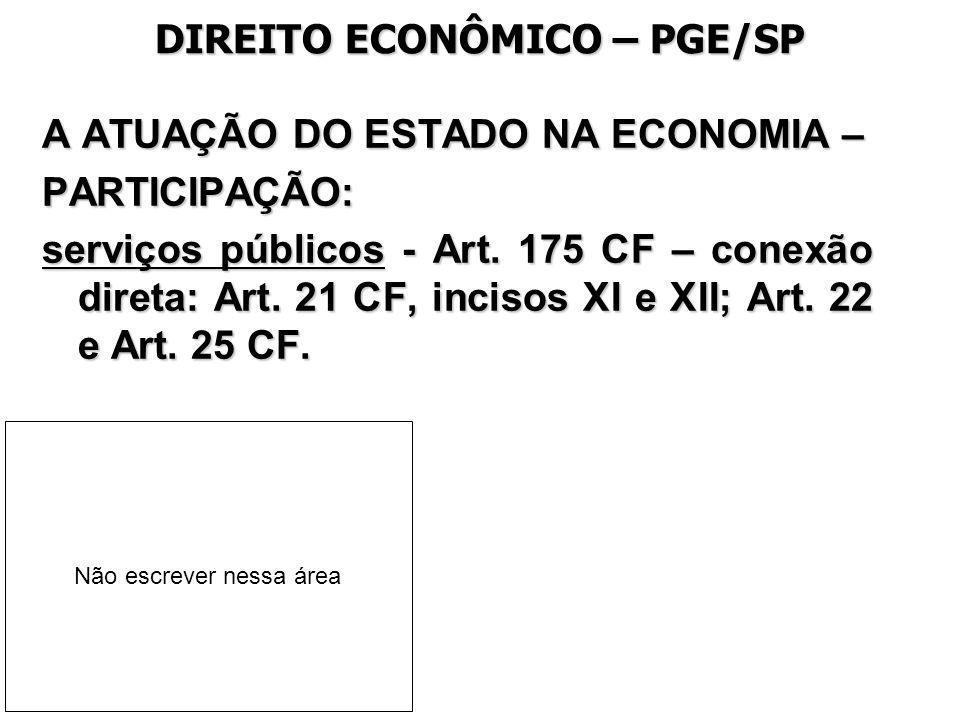 DIREITO ECONÔMICO – PGE/SP A ATUAÇÃO DO ESTADO NA ECONOMIA – PARTICIPAÇÃO: serviços públicos - Art. 175 CF – conexão direta: Art. 21 CF, incisos XI e