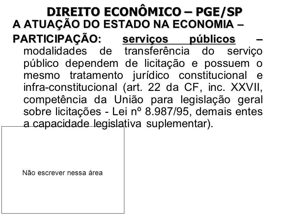 DIREITO ECONÔMICO – PGE/SP A ATUAÇÃO DO ESTADO NA ECONOMIA – PARTICIPAÇÃO: serviços públicos – PARTICIPAÇÃO: serviços públicos – modalidades de transf
