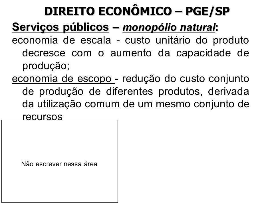 DIREITO ECONÔMICO – PGE/SP Serviços públicos – monopólio natural: economia de escala - custo unitário do produto decresce com o aumento da capacidade