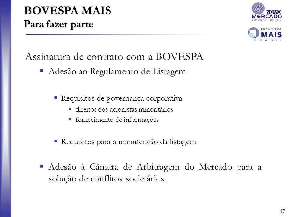 17 Assinatura de contrato com a BOVESPA Adesão ao Regulamento de Listagem Requisitos de governança corporativa direitos dos acionistas minoritários fo