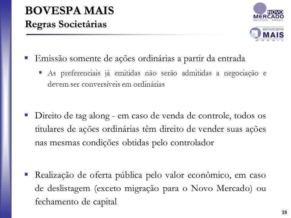 18 BOVESPA MAIS Regras Societárias Emissão somente de ações ordinárias a partir da entrada As preferenciais já emitidas não serão admitidas a negociaç