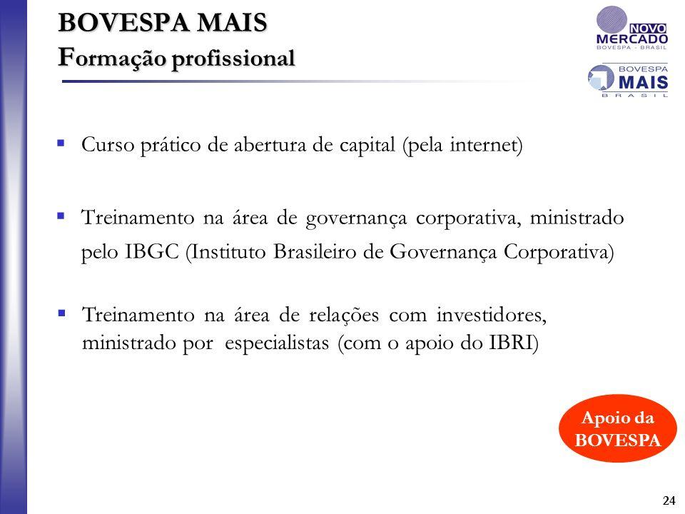 24 Curso prático de abertura de capital (pela internet) Treinamento na área de governança corporativa, ministrado pelo IBGC (Instituto Brasileiro de G