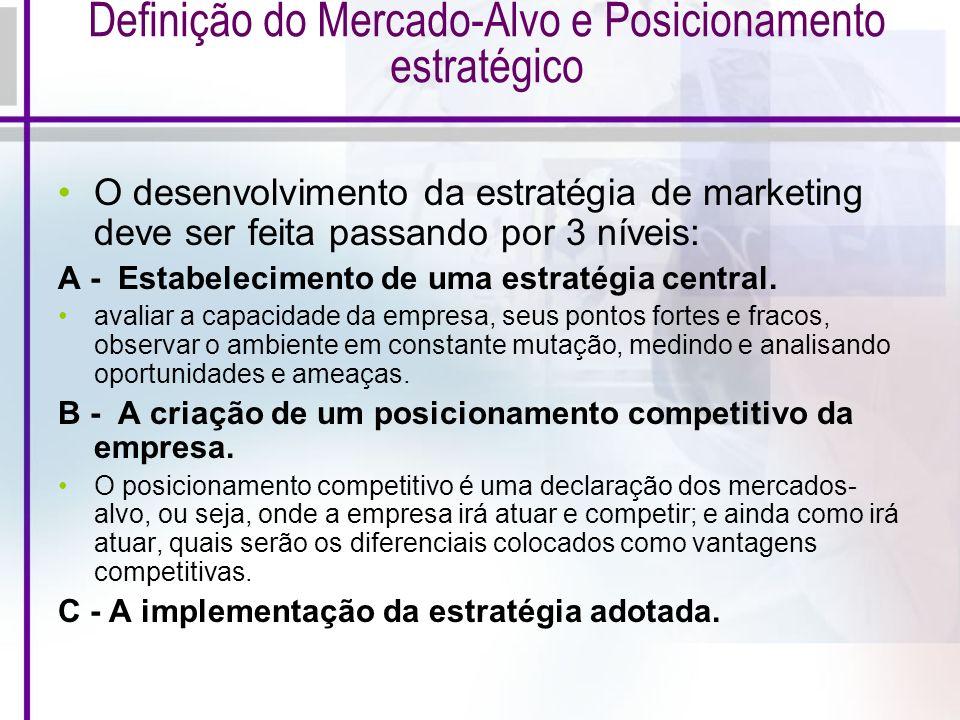 Definição do Mercado-Alvo e Posicionamento estratégico O desenvolvimento da estratégia de marketing deve ser feita passando por 3 níveis: A - Estabele