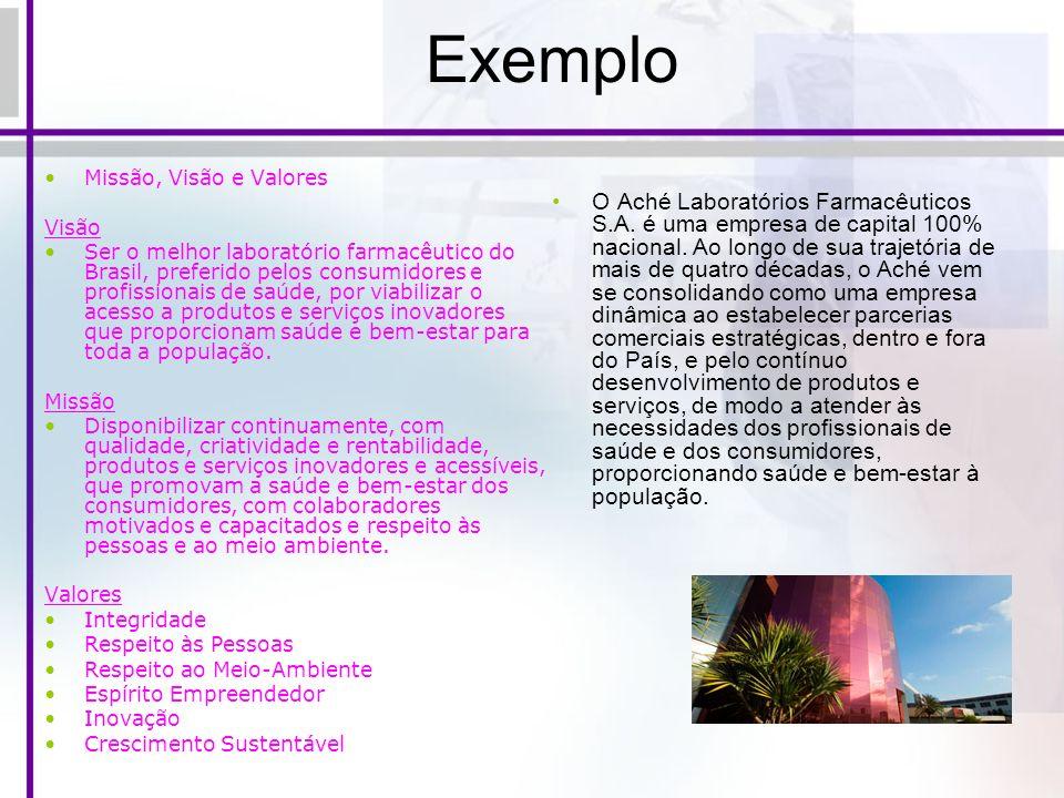 Exemplo Missão, Visão e Valores Visão Ser o melhor laboratório farmacêutico do Brasil, preferido pelos consumidores e profissionais de saúde, por viab