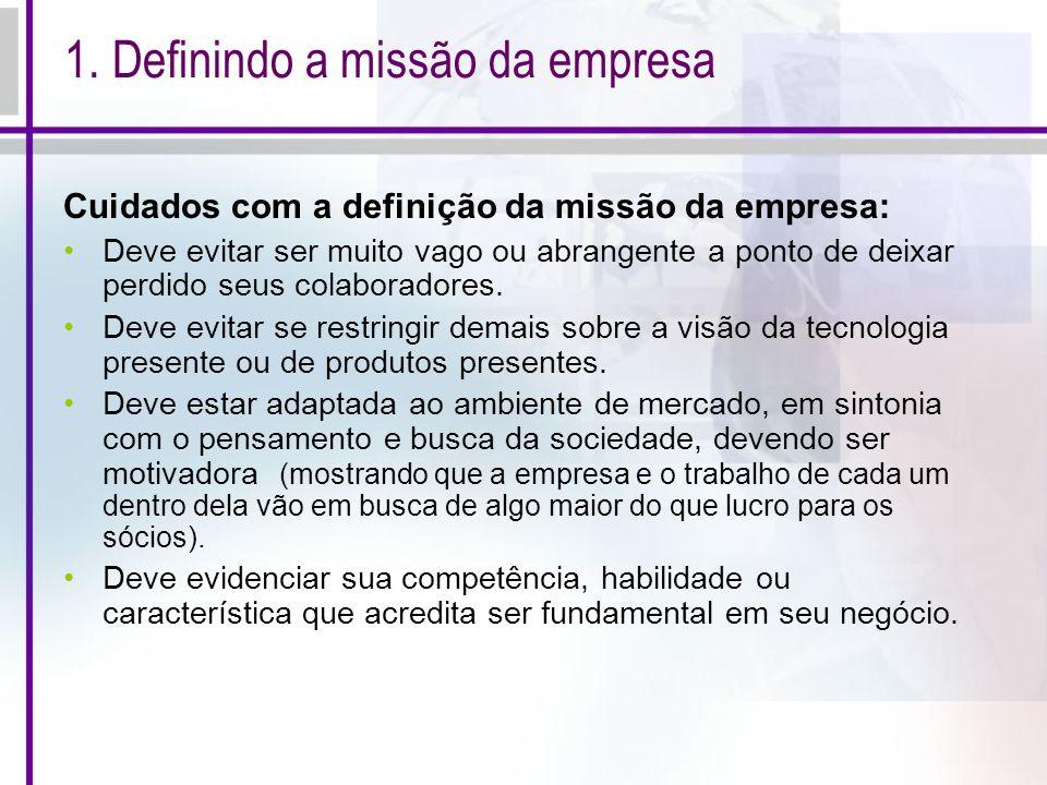 1. Definindo a missão da empresa Cuidados com a definição da missão da empresa: Deve evitar ser muito vago ou abrangente a ponto de deixar perdido seu