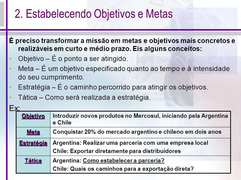 2. Estabelecendo Objetivos e Metas É preciso transformar a missão em metas e objetivos mais concretos e realizáveis em curto e médio prazo. Eis alguns