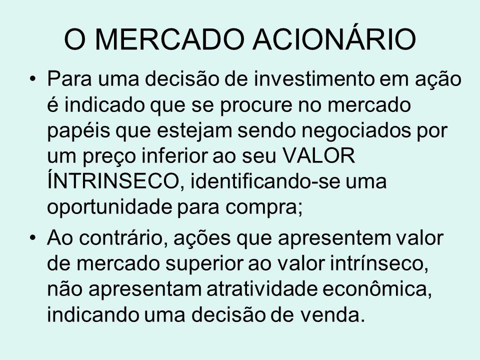 O MERCADO ACIONÁRIO Para uma decisão de investimento em ação é indicado que se procure no mercado papéis que estejam sendo negociados por um preço inf