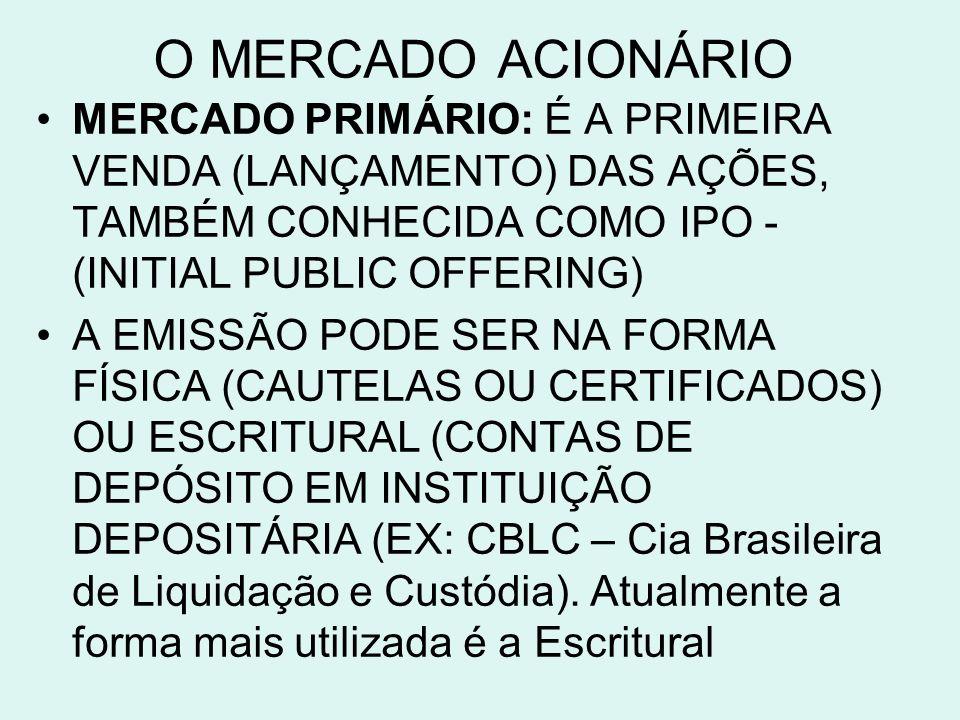 O MERCADO ACIONÁRIO MERCADO PRIMÁRIO: É A PRIMEIRA VENDA (LANÇAMENTO) DAS AÇÕES, TAMBÉM CONHECIDA COMO IPO - (INITIAL PUBLIC OFFERING) A EMISSÃO PODE SER NA FORMA FÍSICA (CAUTELAS OU CERTIFICADOS) OU ESCRITURAL (CONTAS DE DEPÓSITO EM INSTITUIÇÃO DEPOSITÁRIA (EX: CBLC – Cia Brasileira de Liquidação e Custódia).