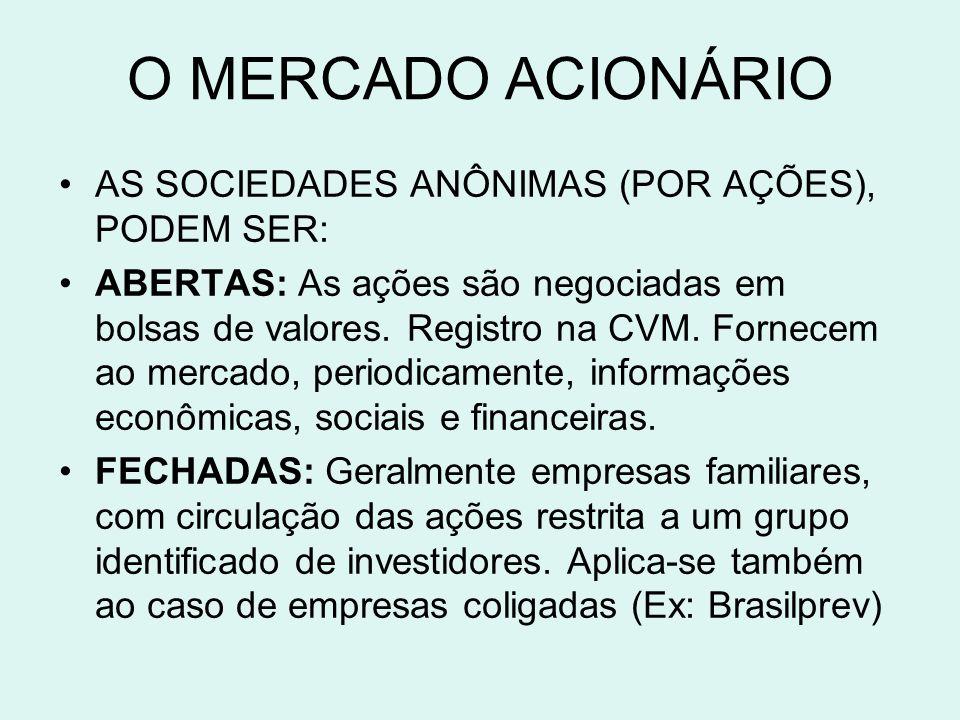 O MERCADO ACIONÁRIO AS SOCIEDADES ANÔNIMAS (POR AÇÕES), PODEM SER: ABERTAS: As ações são negociadas em bolsas de valores. Registro na CVM. Fornecem ao