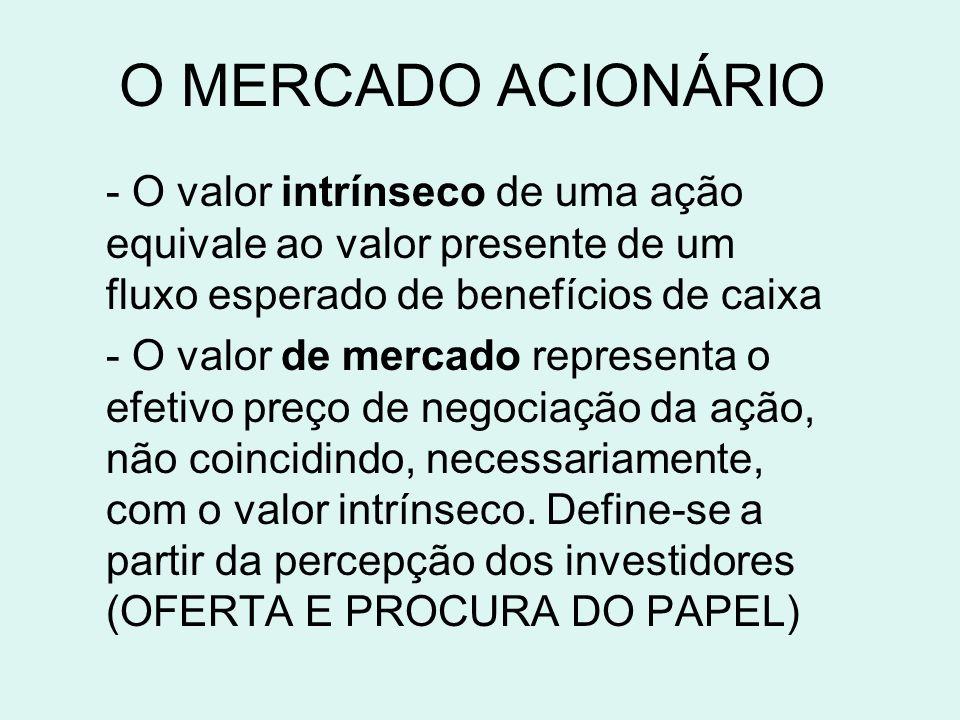 O MERCADO ACIONÁRIO - O valor intrínseco de uma ação equivale ao valor presente de um fluxo esperado de benefícios de caixa - O valor de mercado representa o efetivo preço de negociação da ação, não coincidindo, necessariamente, com o valor intrínseco.