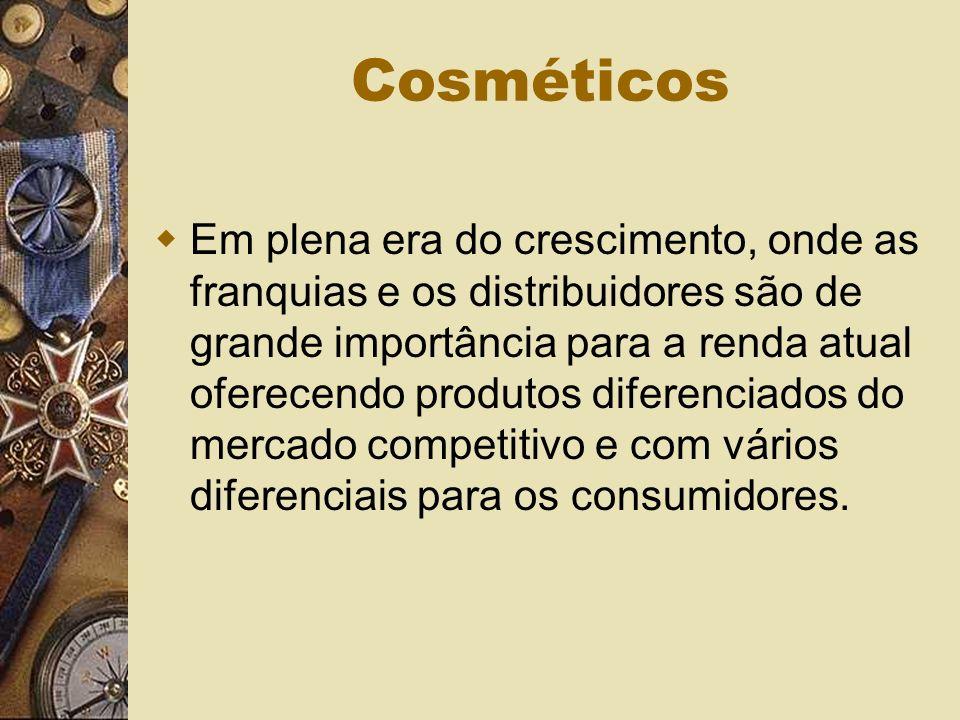 Cosméticos Em plena era do crescimento, onde as franquias e os distribuidores são de grande importância para a renda atual oferecendo produtos diferenciados do mercado competitivo e com vários diferenciais para os consumidores.
