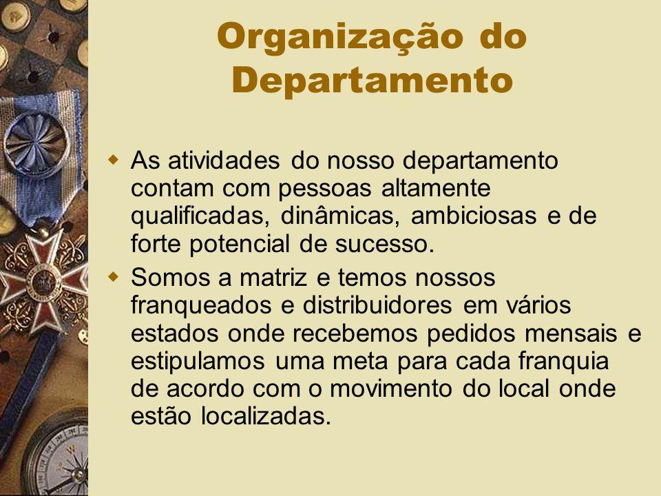 Organização do Departamento As atividades do nosso departamento contam com pessoas altamente qualificadas, dinâmicas, ambiciosas e de forte potencial de sucesso.