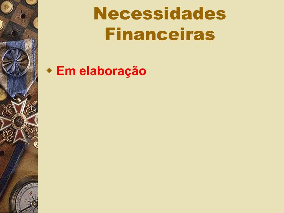 Necessidades Financeiras Em elaboração