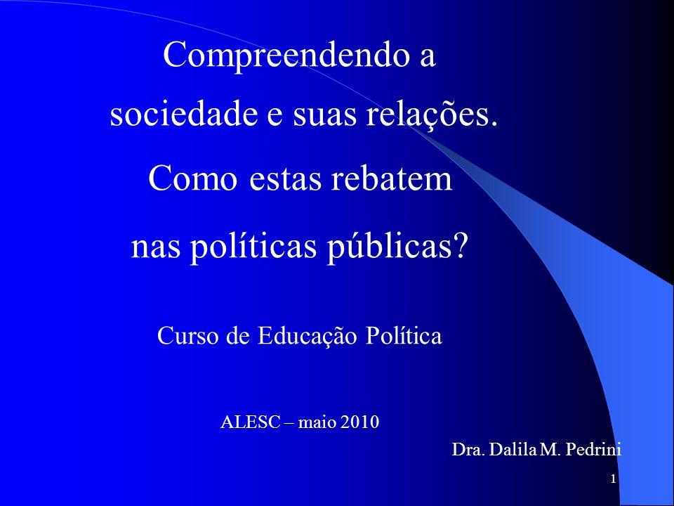 1 Compreendendo a sociedade e suas relações. Como estas rebatem nas políticas públicas? Curso de Educação Política ALESC – maio 2010 Dra. Dalila M. Pe