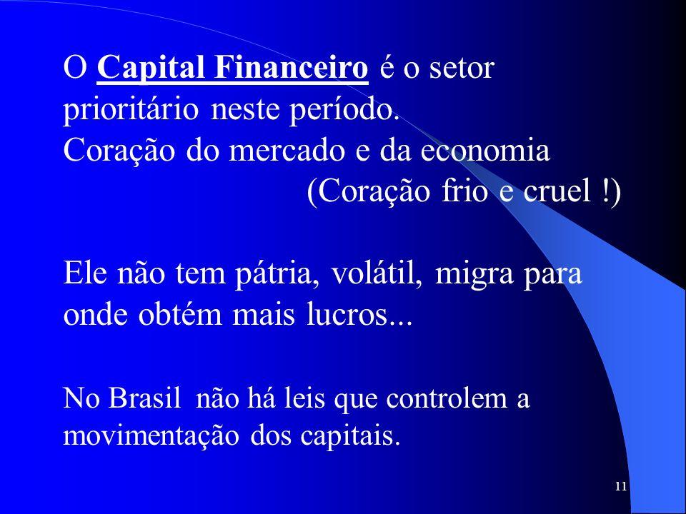 11 O Capital Financeiro é o setor prioritário neste período. Coração do mercado e da economia (Coração frio e cruel !) Ele não tem pátria, volátil, mi