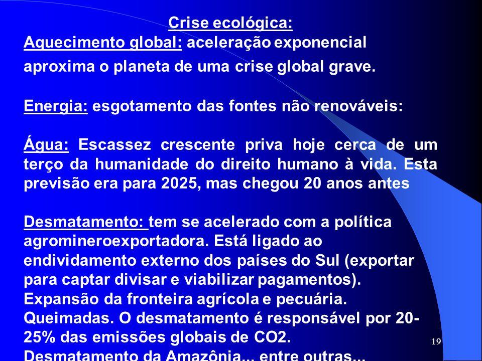 19 Crise ecológica: Aquecimento global: aceleração exponencial aproxima o planeta de uma crise global grave. Energia: esgotamento das fontes não renov