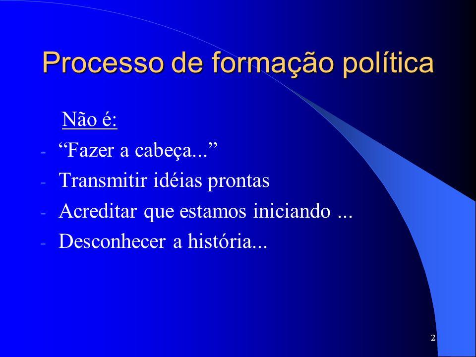 2 Processo de formação política Não é: - Fazer a cabeça... - Transmitir idéias prontas - Acreditar que estamos iniciando... - Desconhecer a história..