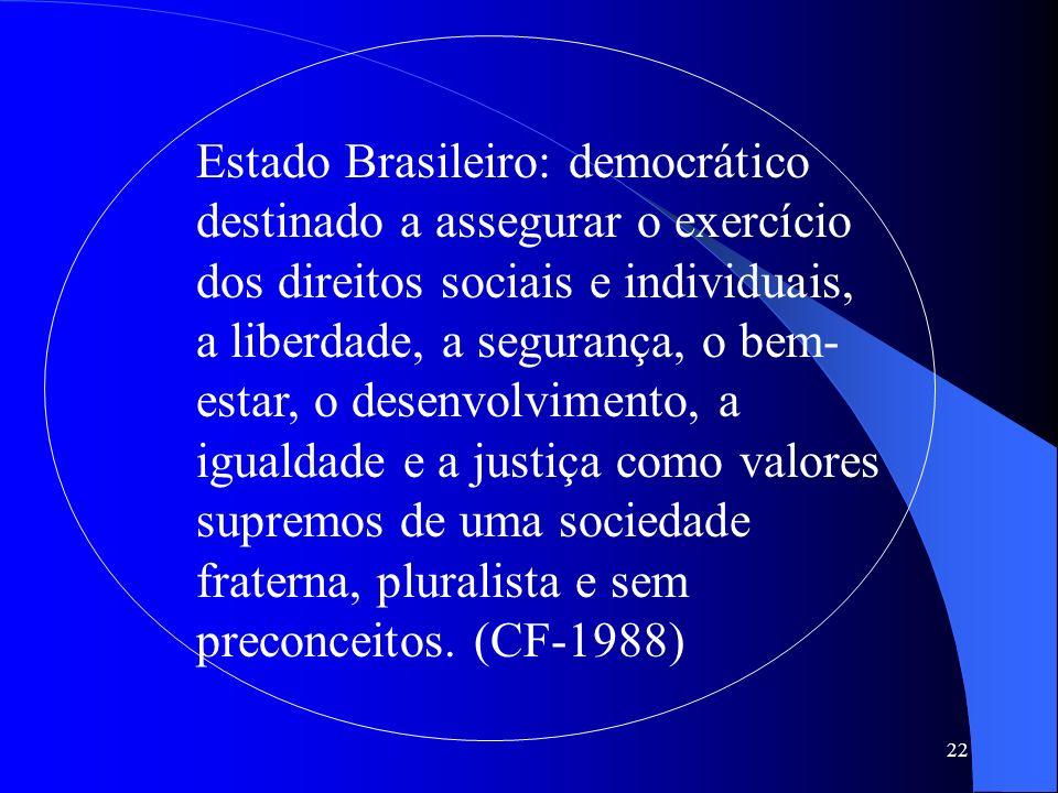 22 Estado Brasileiro: democrático destinado a assegurar o exercício dos direitos sociais e individuais, a liberdade, a segurança, o bem- estar, o dese