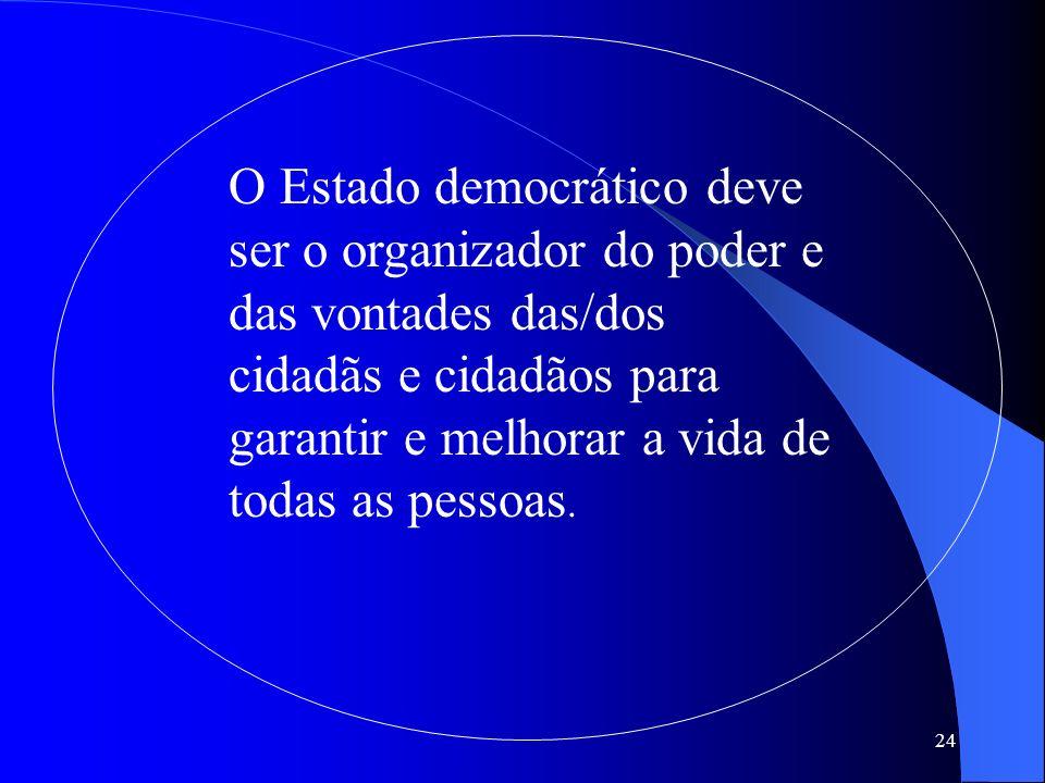 24 O Estado democrático deve ser o organizador do poder e das vontades das/dos cidadãs e cidadãos para garantir e melhorar a vida de todas as pessoas.