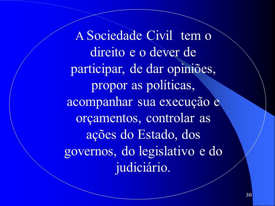 30 A Sociedade Civil tem o direito e o dever de participar, de dar opiniões, propor as políticas, acompanhar sua execução e orçamentos, controlar as a
