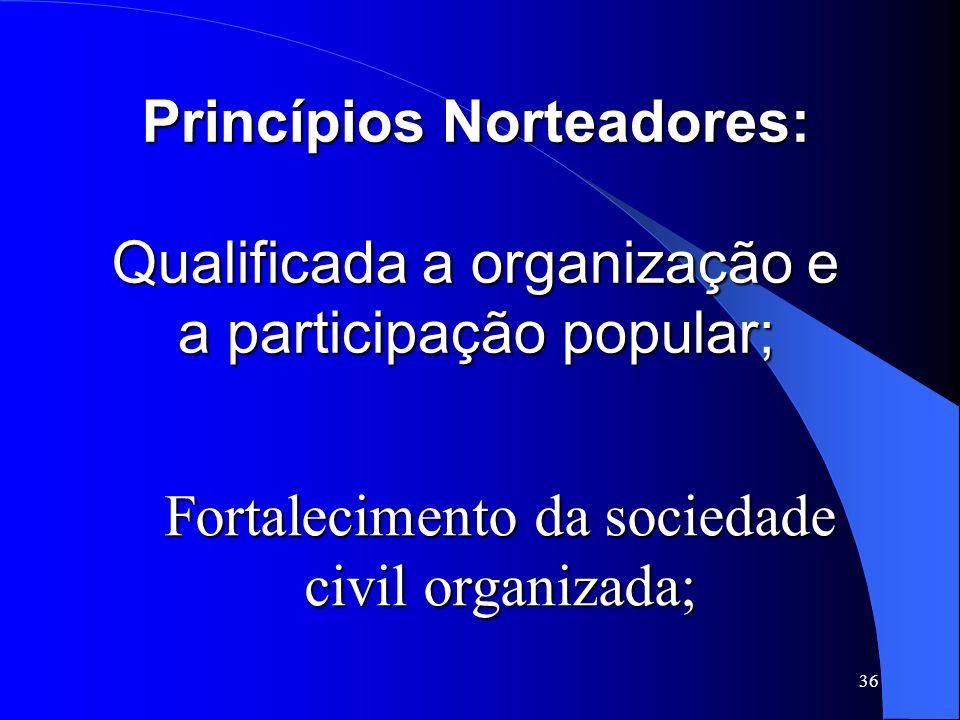 36 Princípios Norteadores: Qualificada a organização e a participação popular; Fortalecimento da sociedade civil organizada;