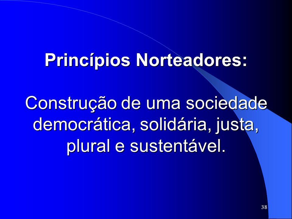 38 Princípios Norteadores: Construção de uma sociedade democrática, solidária, justa, plural e sustentável.