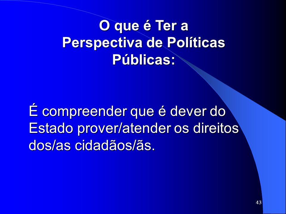 43 O que é Ter a Perspectiva de Políticas Públicas: É compreender que é dever do Estado prover/atender os direitos dos/as cidadãos/ãs.