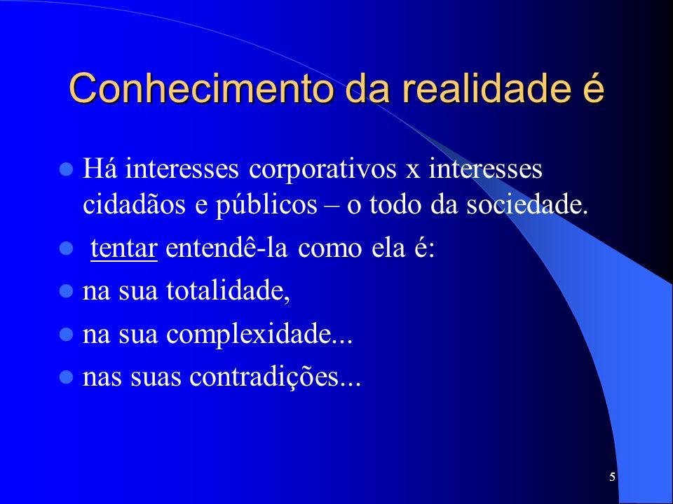 5 Conhecimento da realidade é Há interesses corporativos x interesses cidadãos e públicos – o todo da sociedade. tentar entendê-la como ela é: na sua