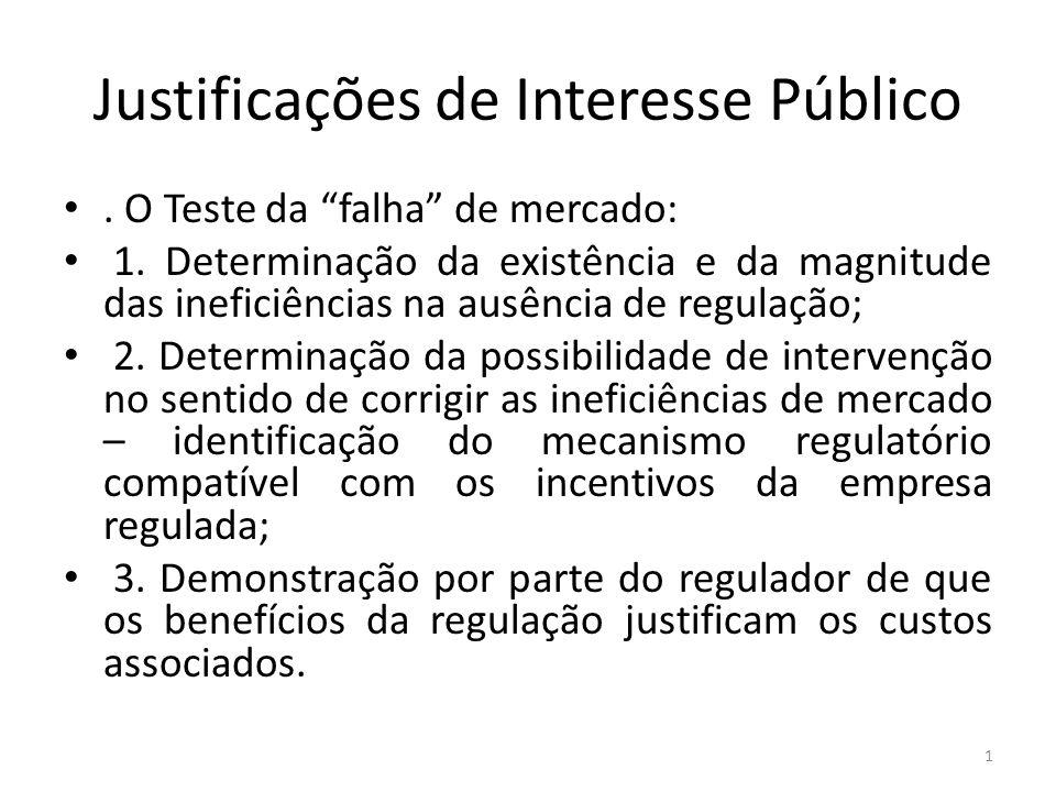 Justificações de Interesse Público. O Teste da falha de mercado: 1. Determinação da existência e da magnitude das ineficiências na ausência de regulaç