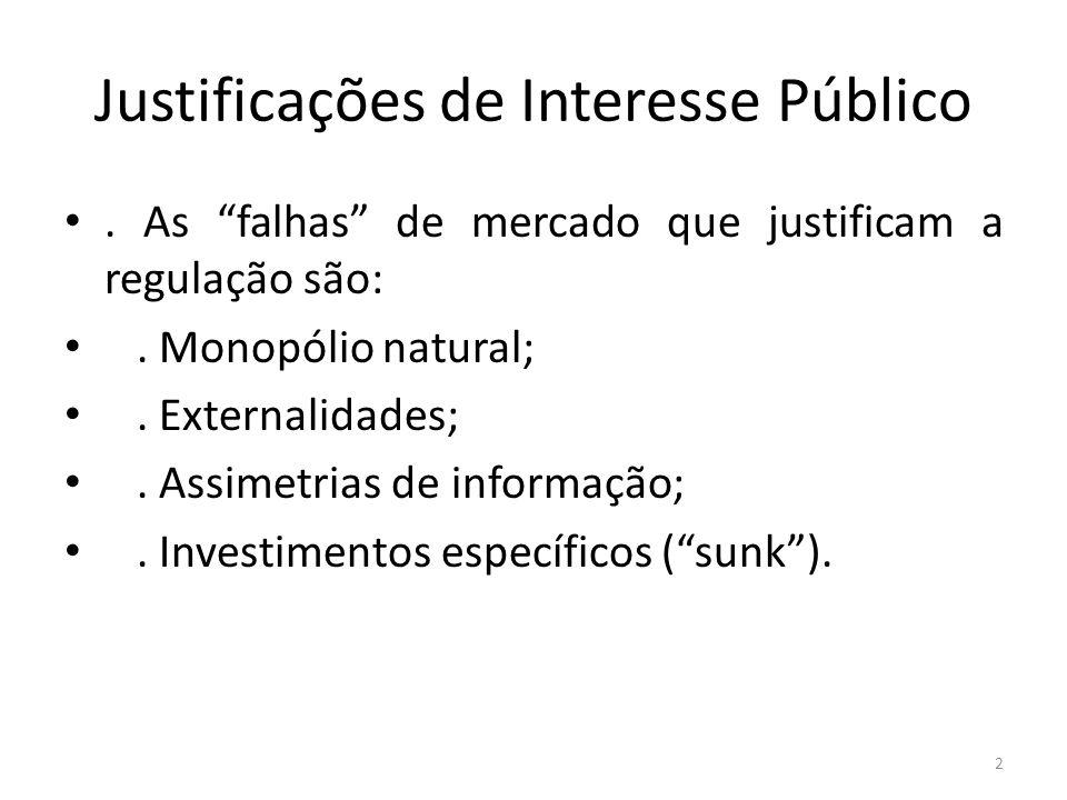 Justificações de Interesse Público. As falhas de mercado que justificam a regulação são:. Monopólio natural;. Externalidades;. Assimetrias de informaç