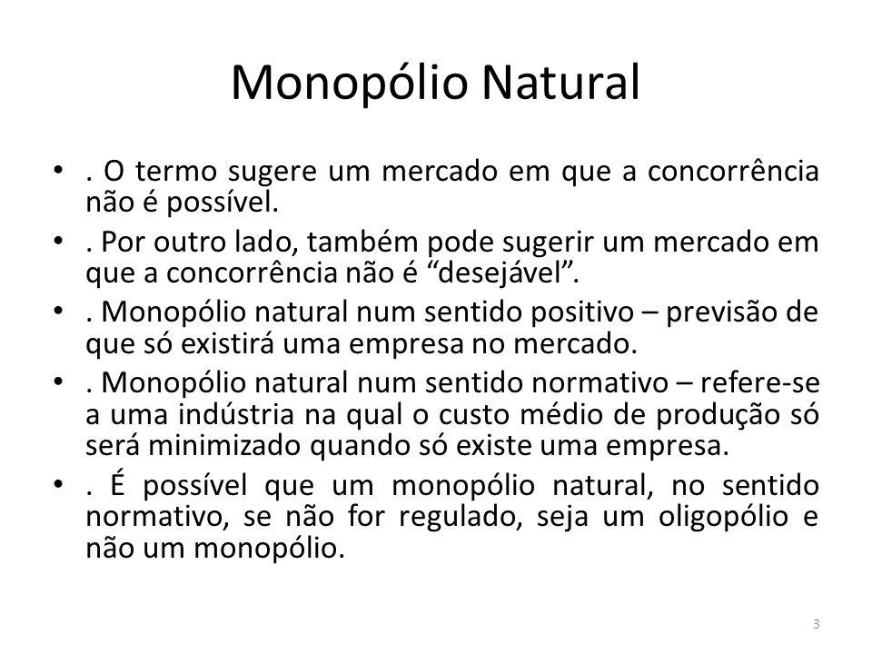 Monopólio Natural.O termo sugere um mercado em que a concorrência não é possível..