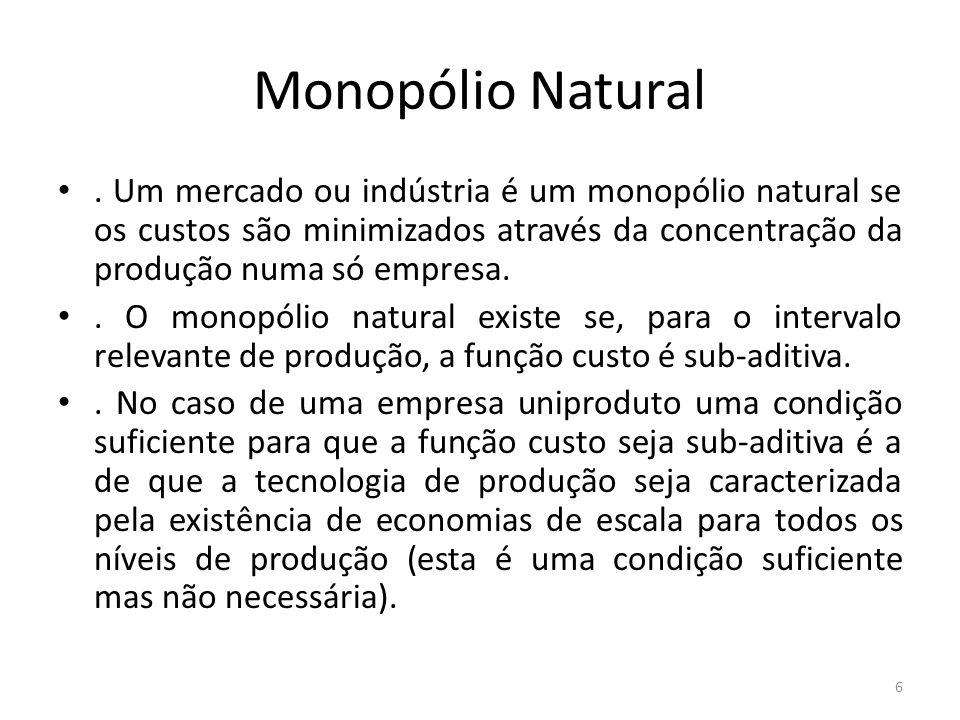 Monopólio Natural. Um mercado ou indústria é um monopólio natural se os custos são minimizados através da concentração da produção numa só empresa.. O