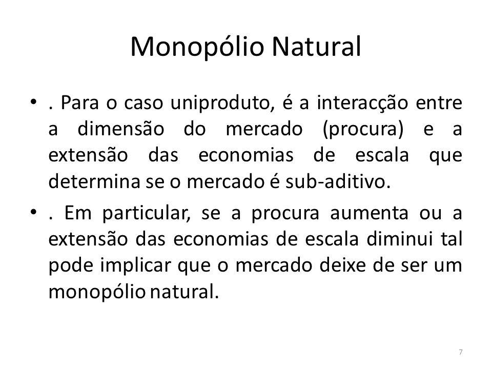 Monopólio Natural. Para o caso uniproduto, é a interacção entre a dimensão do mercado (procura) e a extensão das economias de escala que determina se