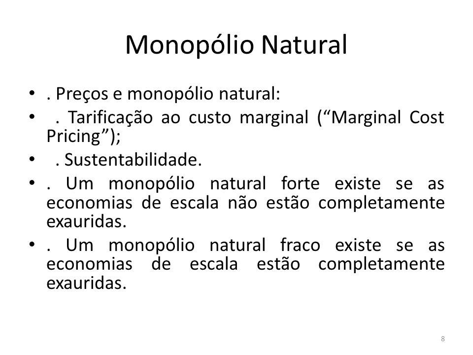 Monopólio Natural. Preços e monopólio natural:. Tarificação ao custo marginal (Marginal Cost Pricing);. Sustentabilidade.. Um monopólio natural forte