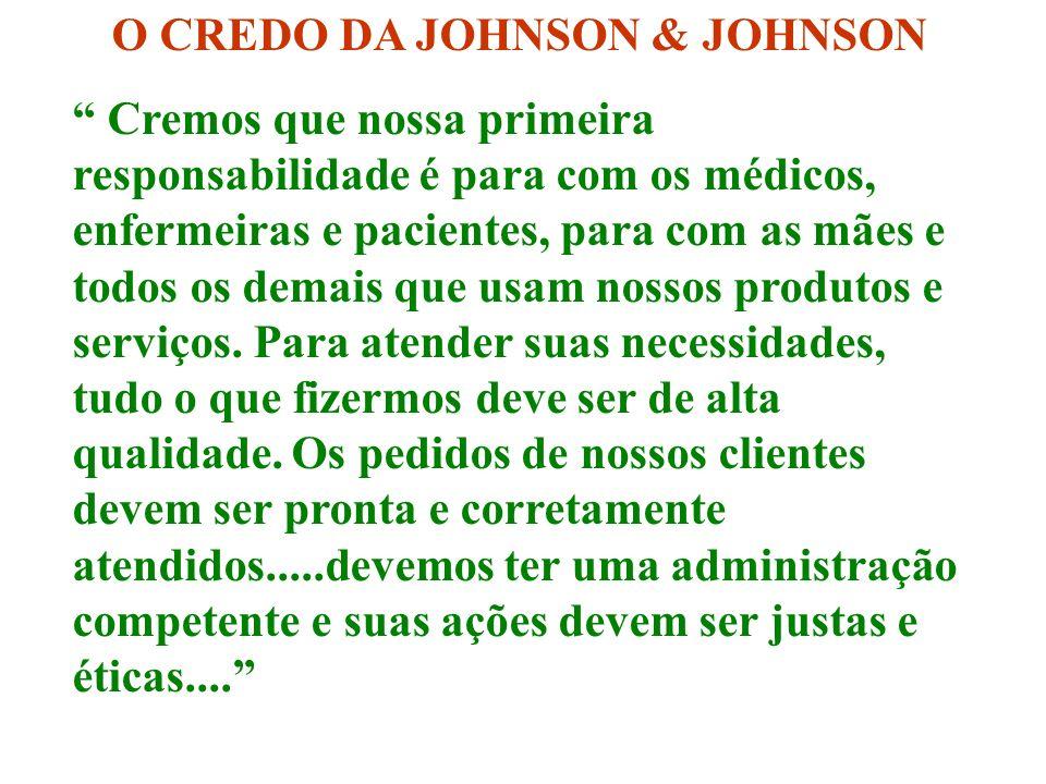 O CREDO DA JOHNSON & JOHNSON Cremos que nossa primeira responsabilidade é para com os médicos, enfermeiras e pacientes, para com as mães e todos os demais que usam nossos produtos e serviços.