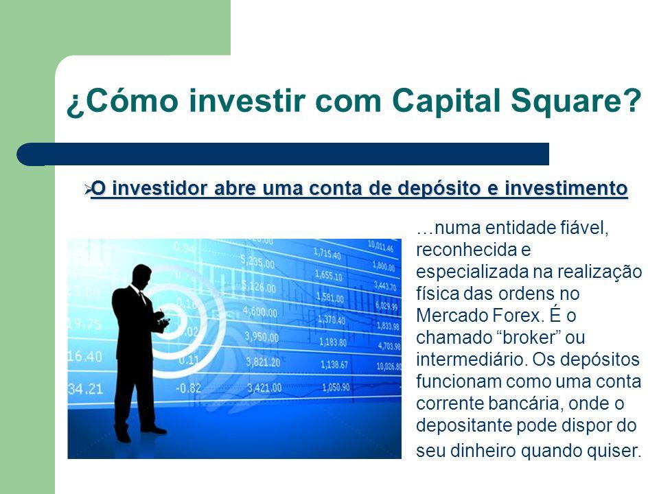 ¿Cómo investir com Capital Square? O investidor abre uma conta de depósito e investimento O investidor abre uma conta de depósito e investimento …numa