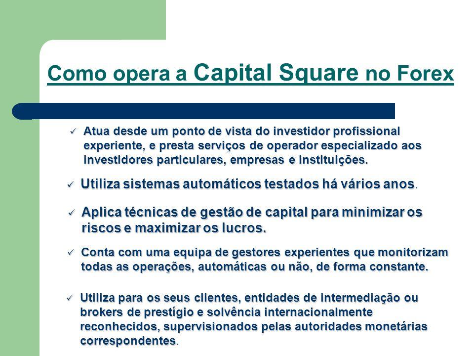 Como opera a Capital Square no Forex Atua Atua desde um ponto de vista do investidor profissional experiente, e presta serviços de operador especializ