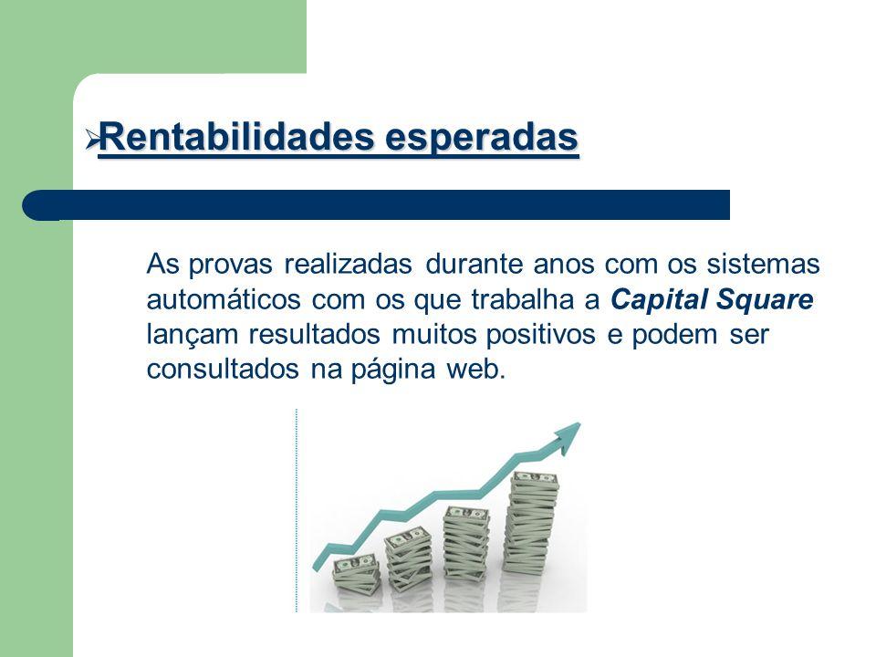 Rentabilidades esperadas Rentabilidades esperadas As provas realizadas durante anos com os sistemas automáticos com os que trabalha a Capital Square l